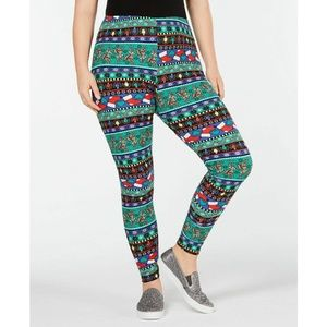 Planet Gold Pants - Planet Gold Holiday Christmas Print Leggings